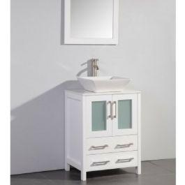 24 White Solid Wood Single Sink Vanity Mirror Wa7824w