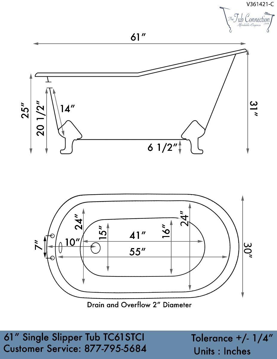 61 Cast Iron Single Slipper Tub Chariton