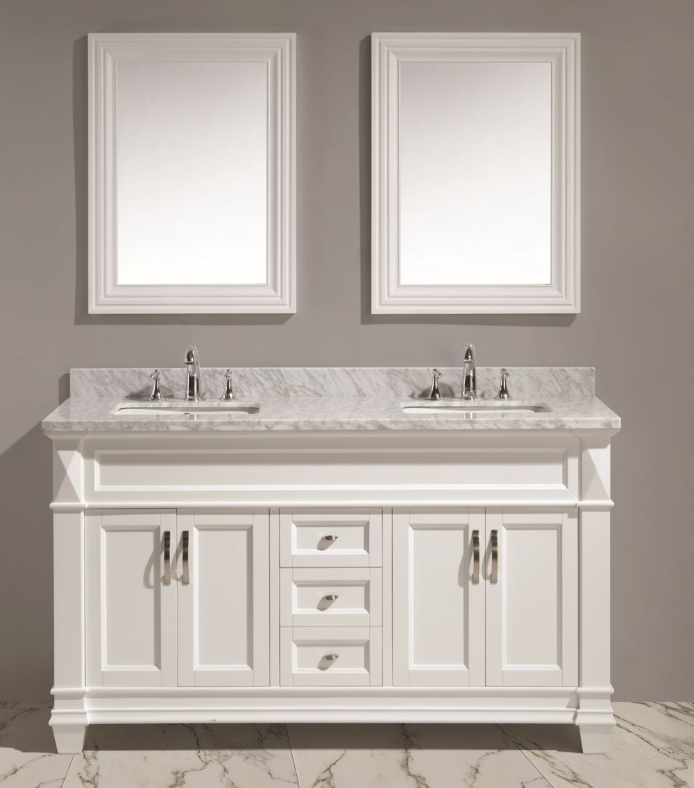 60 Double Sink Vanity Set In White W Carrara Marble Countertop