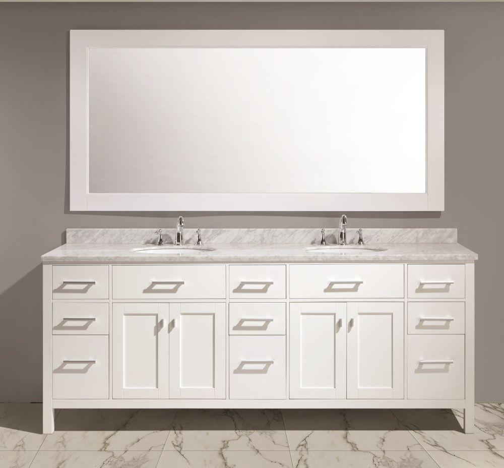 London 84 Double Sink White Vanity