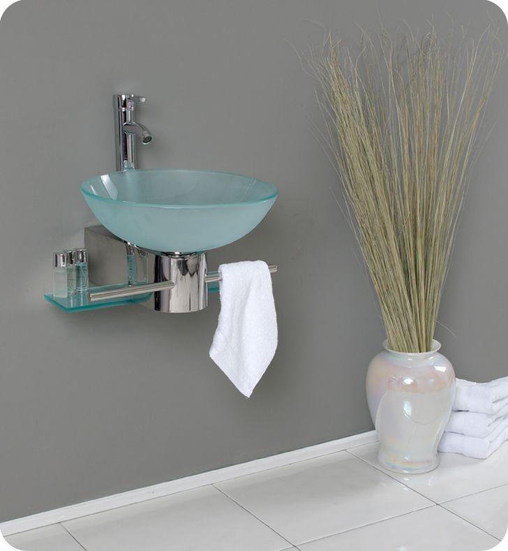 18 Inch Bath Room Glass Vanity Fresca, 18 Inch Bathroom Vanity With Vessel Sink