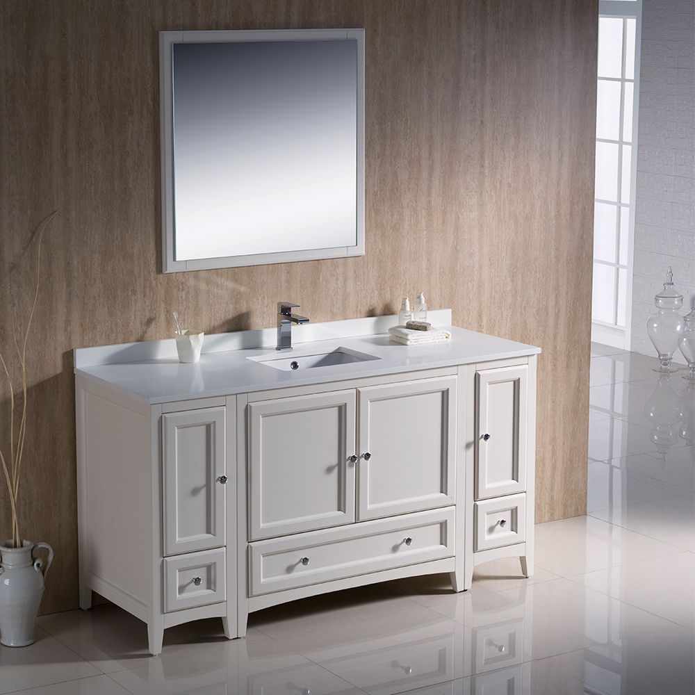 60 Antique White Traditional 60 Inch Single Sink Vanity Fvn20