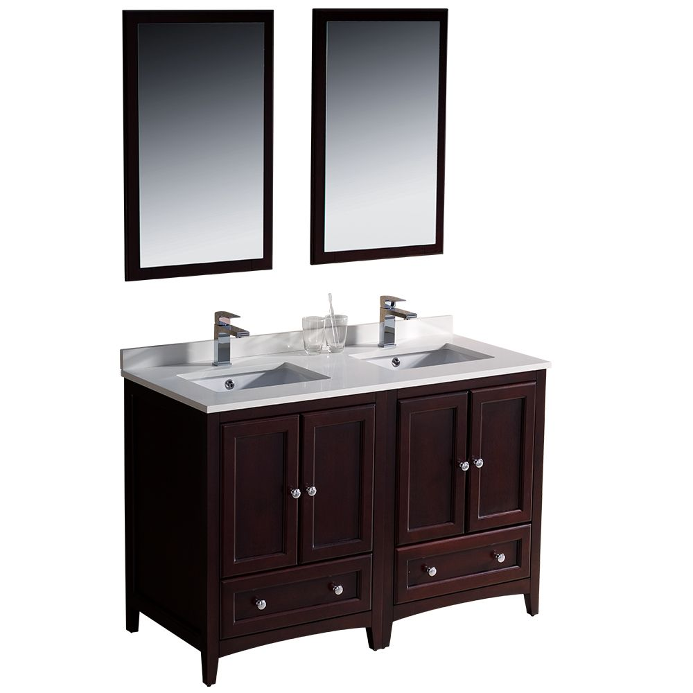 48 Inch Mahogany Double Basin Sink Bathroom Vanity Unit