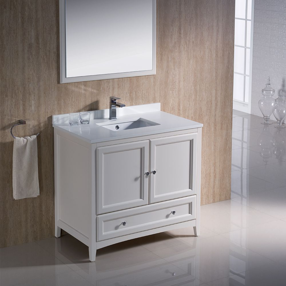 36 Antique White Traditional Bathroom, 36 Inch Antique White Bathroom Vanity