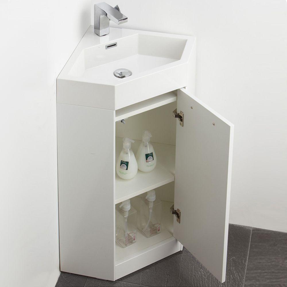 18 White Modern Corner Bathroom Vanity Fvn5084wh