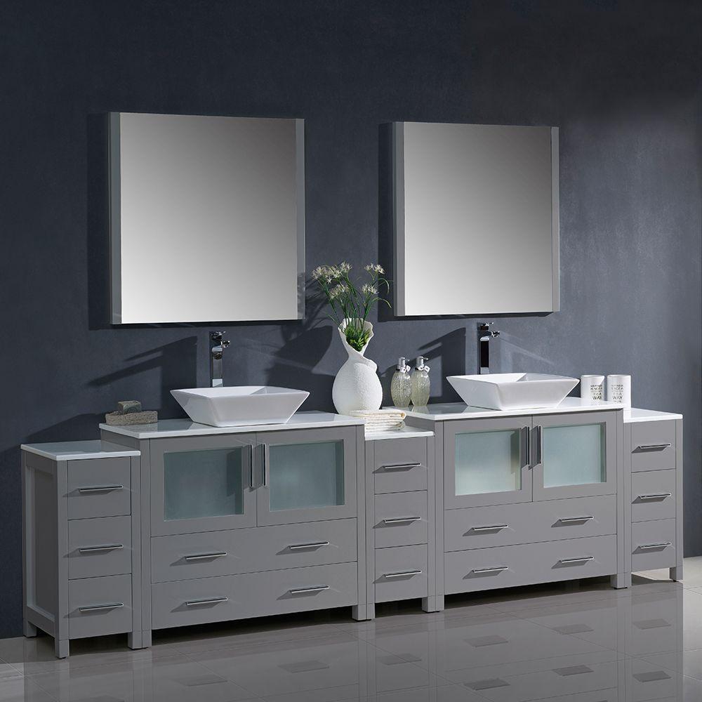 108 Gray Modern Double Sink Bathroom Vanity W 3 Side Cabinets Vessel Sinks Fvn62 108gr Vsl