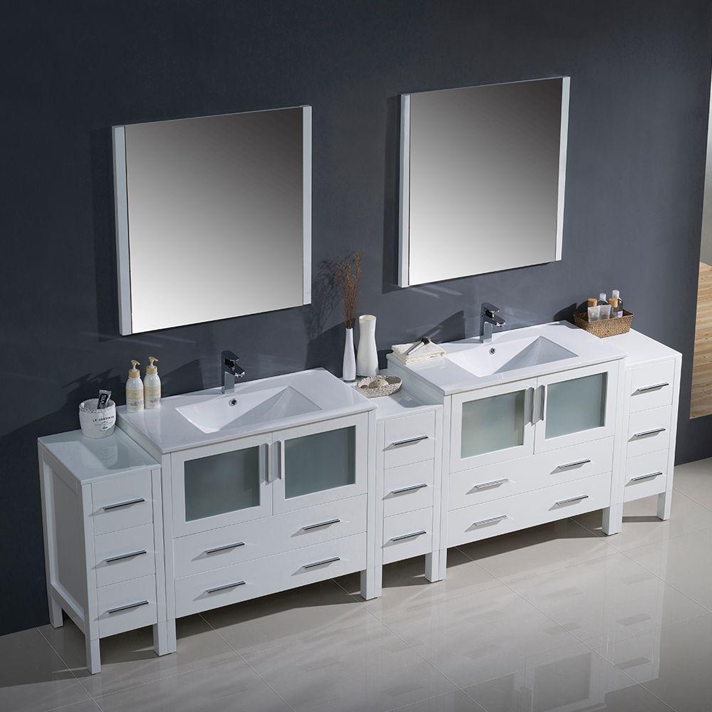 Fresca Torino 108 White Double Sink Vanity 3 Side Cabinets Basin Sinks