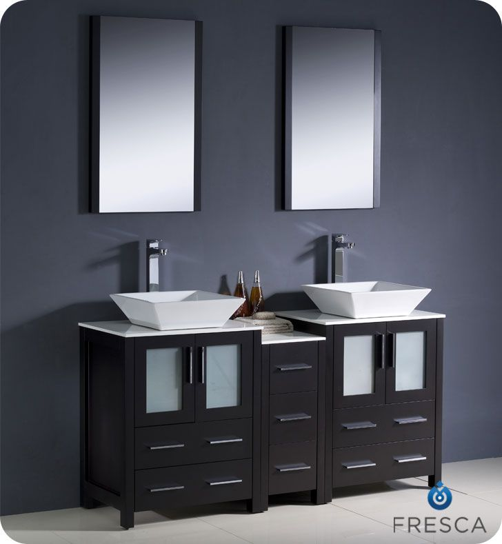 Double Vanity Side Cabinet Vessel Sink