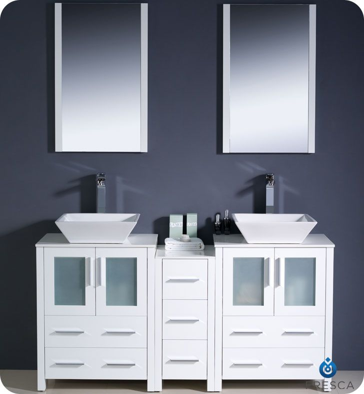 Double Vessel Sink Vanity Fvn62, 65 White Bathroom Vanity