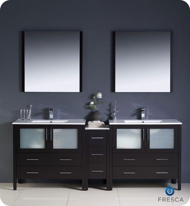 84 Espresso Vanity Side Cabinet Basin