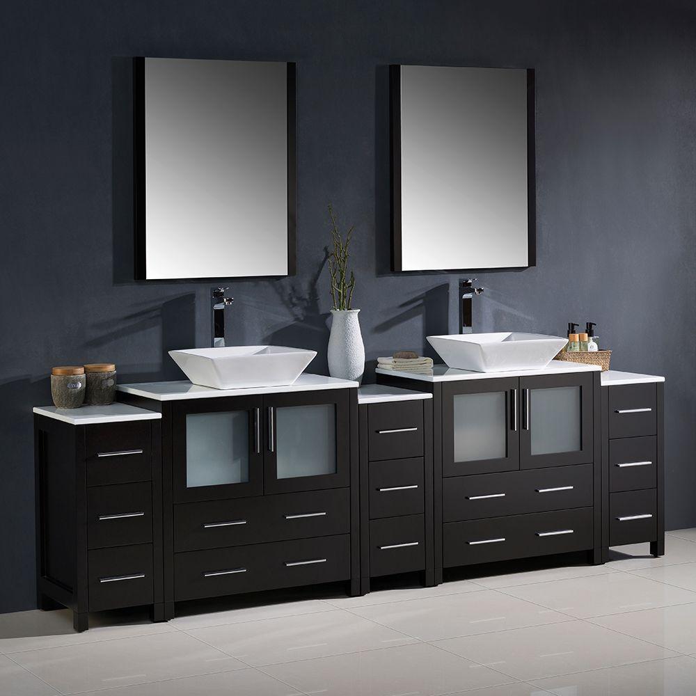 96 Double Espresso Vanity W 3 Side Cabinets Fvn62 96es Vsl