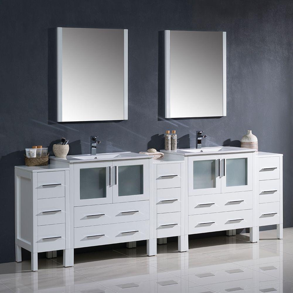 96 White Bathroom Vanity Double Sink W