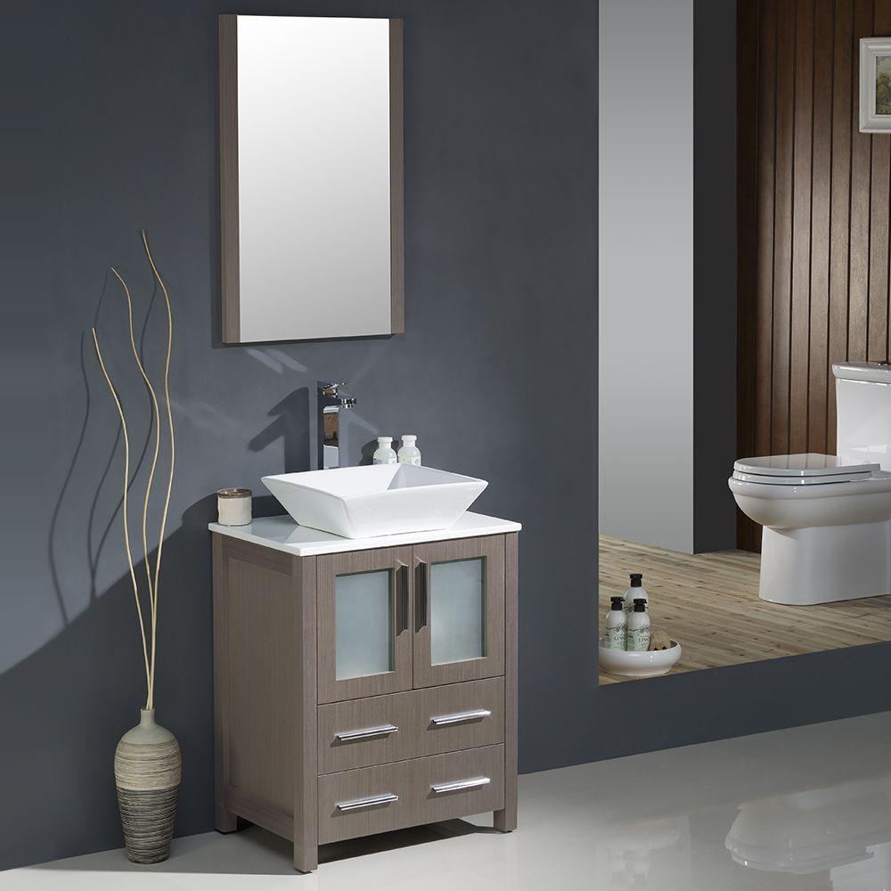 24 Gray Oak Modern Bathroom Vanity W Vessel Sink Fvn6224go Vsl