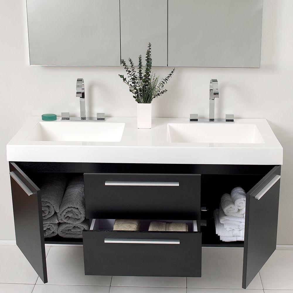 54 Black Modern Double Sink Vanity W