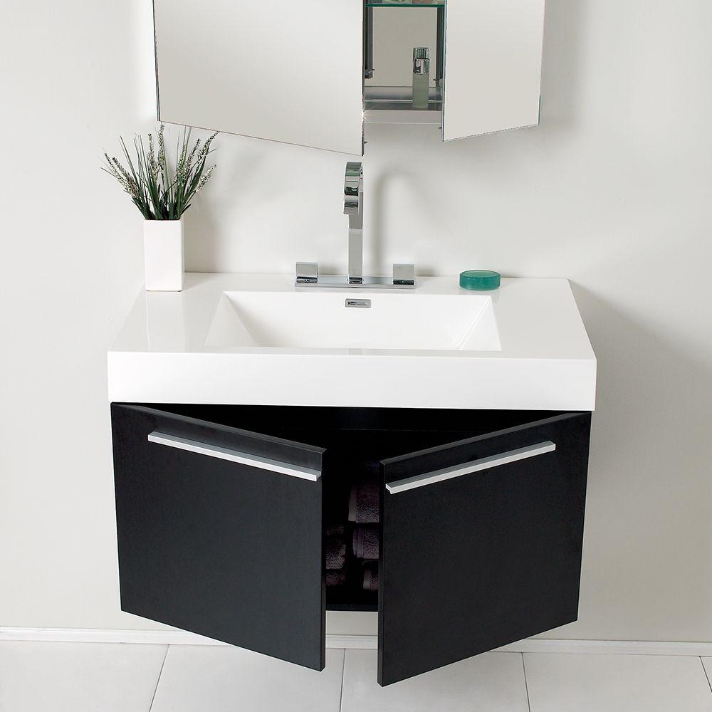 36 Inch Black Bathroom Vanity With Medicine Cabinet