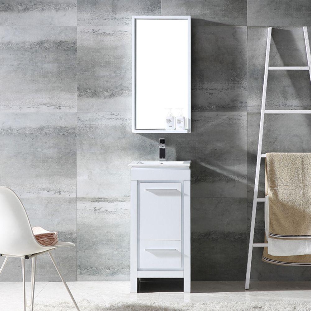 Fresca Allier 16 White Modern Bathroom Vanity W Mirror