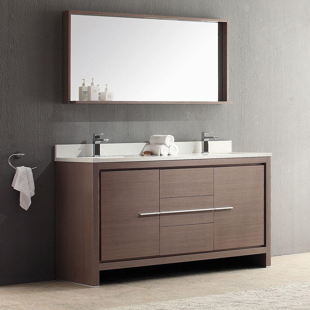 Fresca Allier 60 Gray Oak Modern Double Sink Bathroom Vanity W Mirror