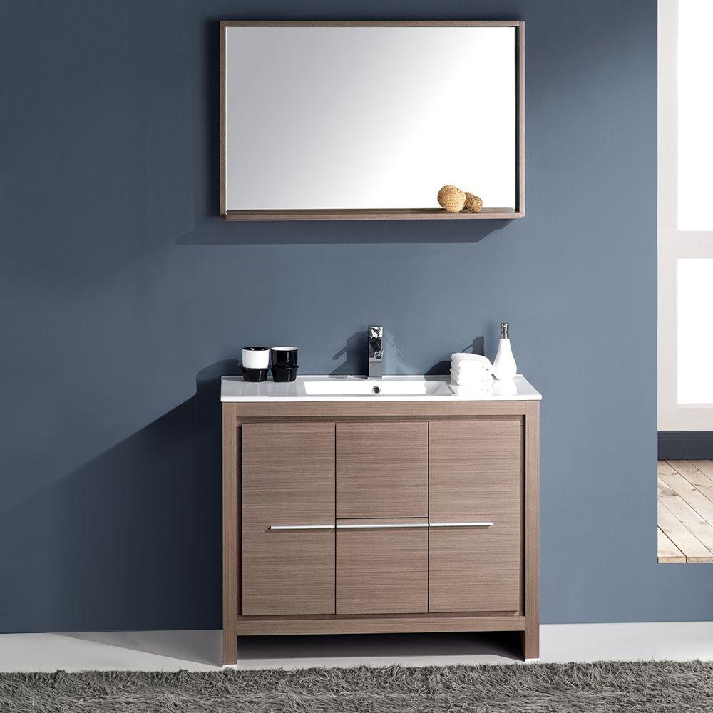 40 Gray Oak Modern Bathroom Vanity W Mirror Faucet Fvn8140go