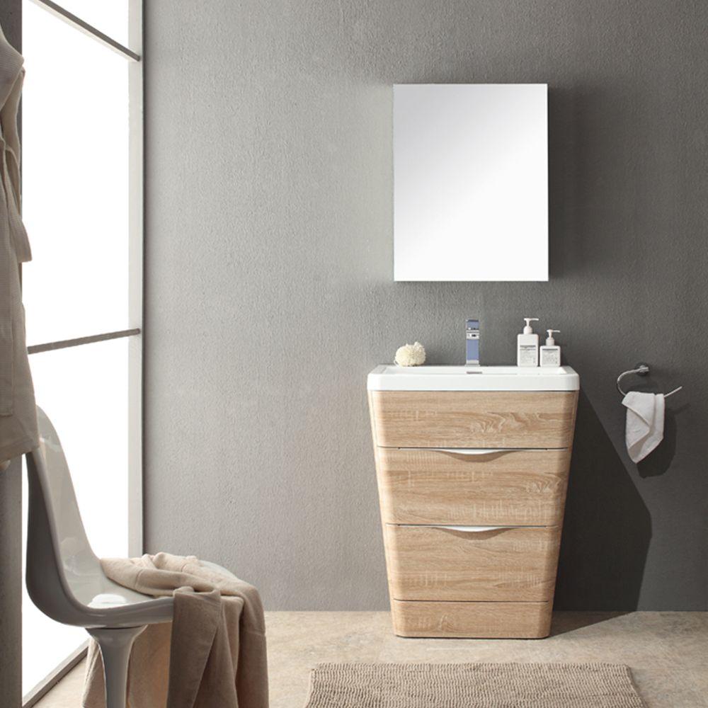 26 White Oak Modern Basin Sink Vanity W Medicine Cabinet Fvn8525wk