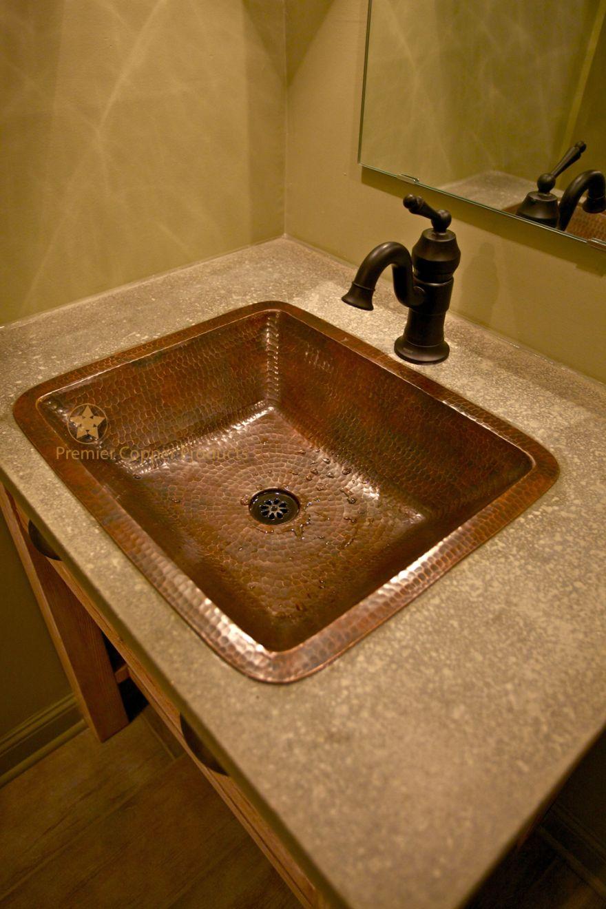 Under Counter Hammered Copper Bathroom Sink