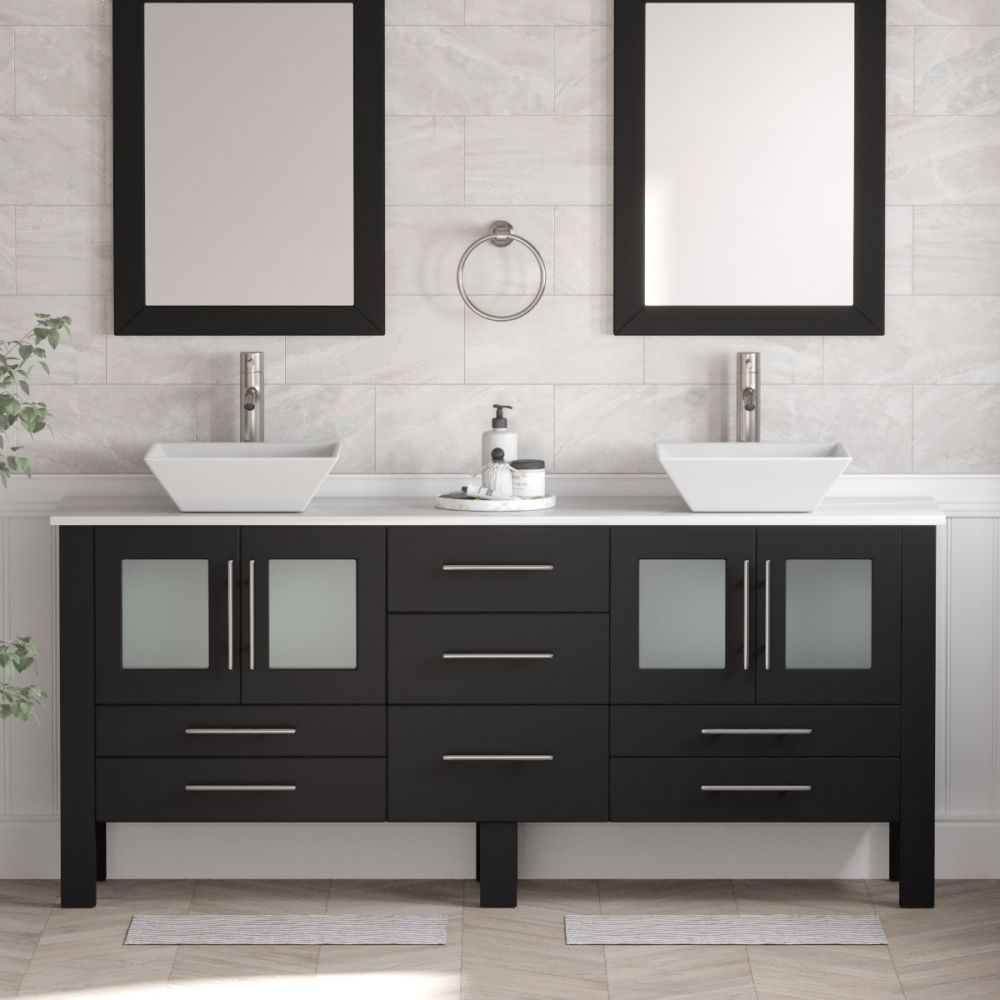 70 Double Vessel Sink Bathroom Vanity In Espresso Calista