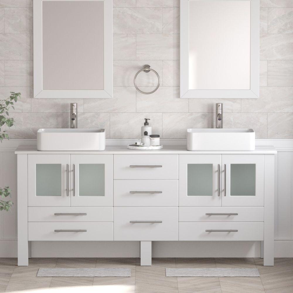 70 White Dual Sink Vanity Zachary