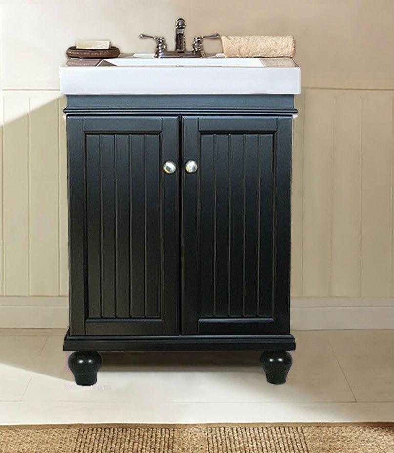 24 Bead Board Flat Panel Espresso Basin Sink Vanity Wlf6028 E