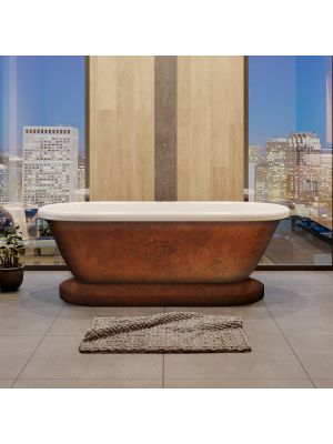 60 Inch Double End Pedestal Tub, No Holes, Copper Morgan
