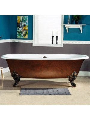 Cast Iron Double Ended Clawfoot Tub Copper Henry 01