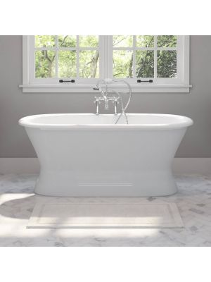 60 inch Dual Ended Cast Iron Bathtub Choice of Rim Mounted Faucet Package 01