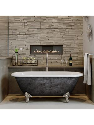 """60"""" Cast Iron Double Ended Tub Standing Plumbing Package - Scorched Platinum Franklin"""