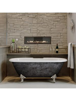 """60"""" Cast Iron Double Ended Clawfoot DH Tub Scorched Platinum Franklin"""