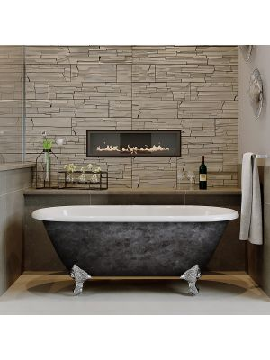 """60"""" Cast Iron Double Ended Clawfoot NH Tub Scorched Platinum Franklin"""