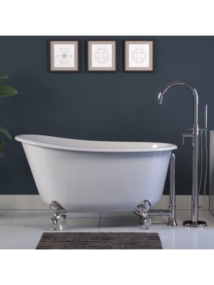 54 inch Cast Iron Swedish Slipper Clawfoot Tub & Faucet Packages With Chrome TC150 Freestanding Faucet - Gentry