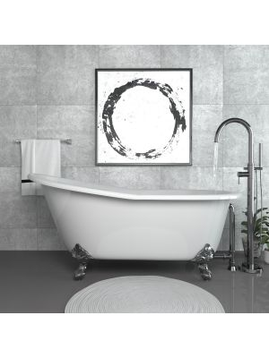 67 inch Cast Iron Slipper Tub with Chrome Free Standing Faucet Plumbing Package - Clay