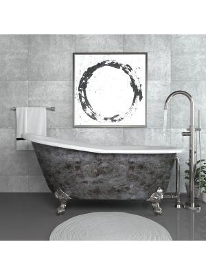 Cast Iron Slipper Clawfoot Tub & Freestanding 150 Plumbing Package in CP - Platinum Clay