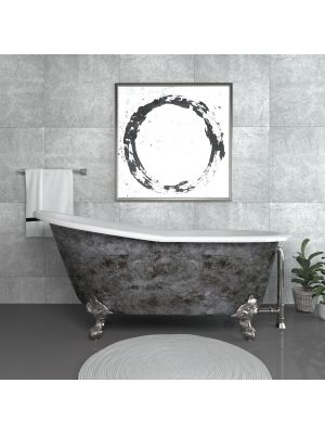 67 inch Cast Iron Slipper, Clawfoot Tub With Chrome Feet - Scorched Platinum Clay 01