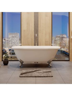 70 inch Acrylic Double Ended Claw Foot Tub With Chrome Feet, Plumbing, & Faucet - Madison Standing Faucet Pkgs
