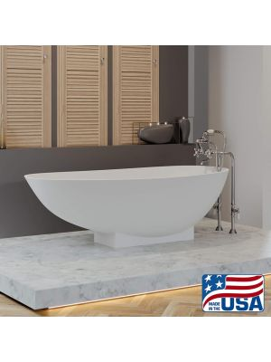 Cultured Marble Tub w/Freestanding Telephone Faucet, Chrome 01
