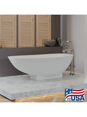 Jefferson marble tub with a Freestanding Gooseneck faucet pkg in Chrome 01