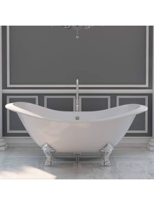 72 Inch Cast Iron Double Slipper Tub with a Chrome Standing Faucet Pkg 01