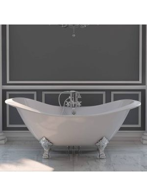 72 Inch Cast Iron Double Slipper Tub with Chrome Rim Mounted Faucet Pkg 01