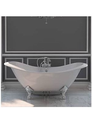Cast Iron Double Slipper Tub with  Rim Mounted Faucet Pkg 06