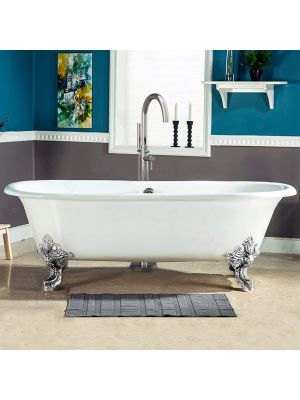 72 inch Cast Iron Double Ended Clawfoot Tub & Choice of Free Standing TC150 Chrome Faucet Package - Henry
