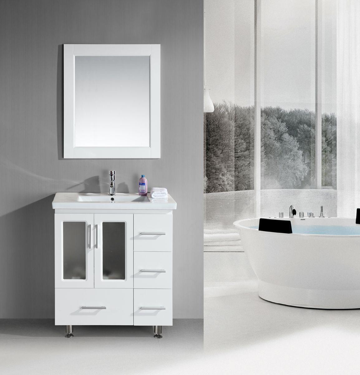 32 Wood Single Undermount Sink Vanity Set In White B30 Ds W Stanton