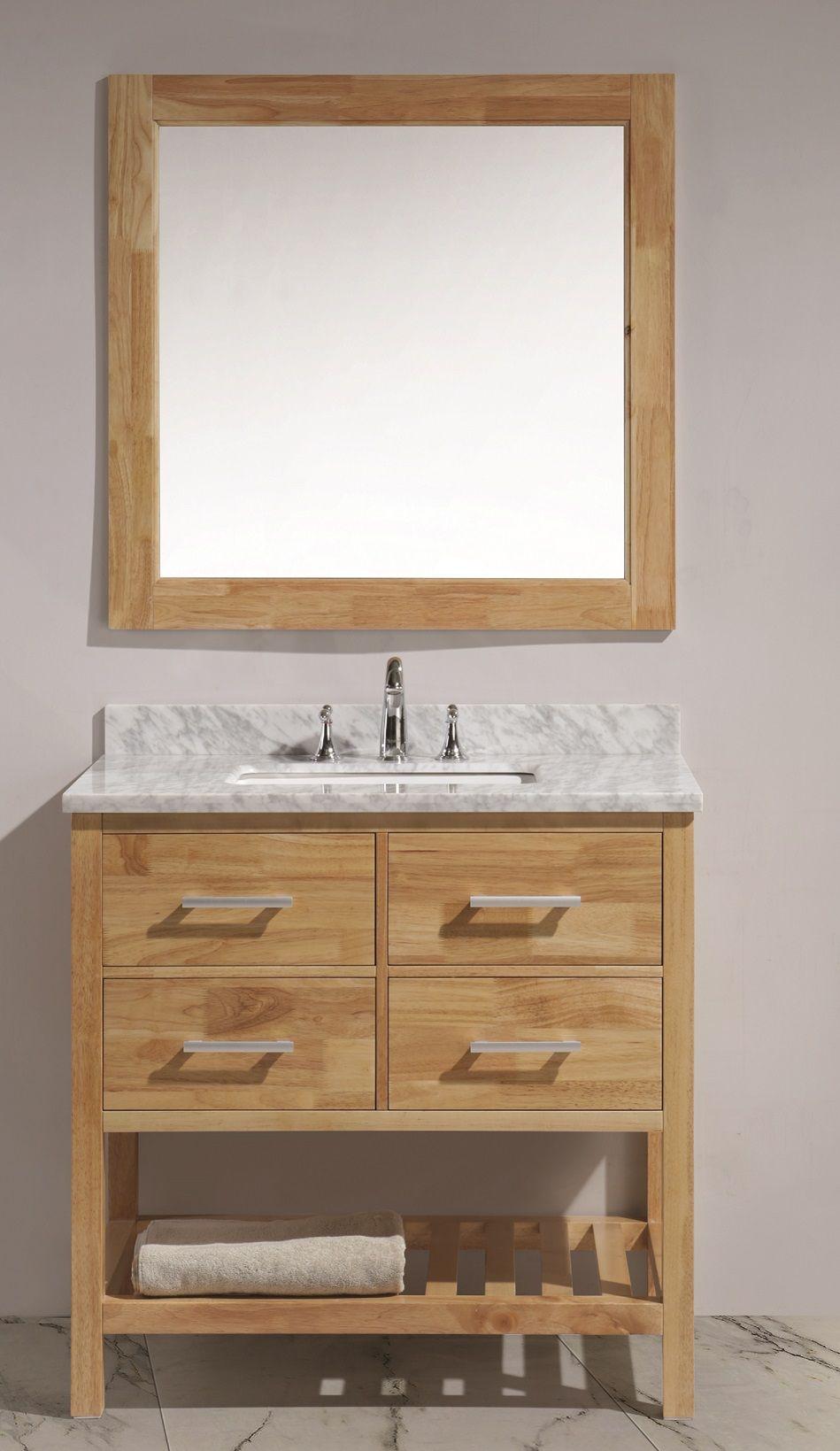 36 Honey Oak One Sink Vanity W Bottom Shelf Mirror Set Dec077a O
