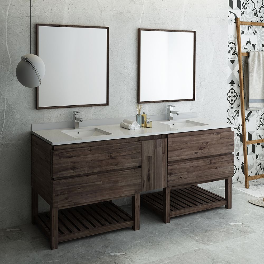 84 Floor Standing Double Sink Modern Bathroom Vanity W Open Bottom Mirrors Fvn31 361236aca Fs