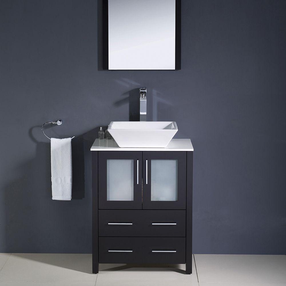 24 Espresso Modern Bathroom Vanity W Vessel Sink Fvn6224es Vsl