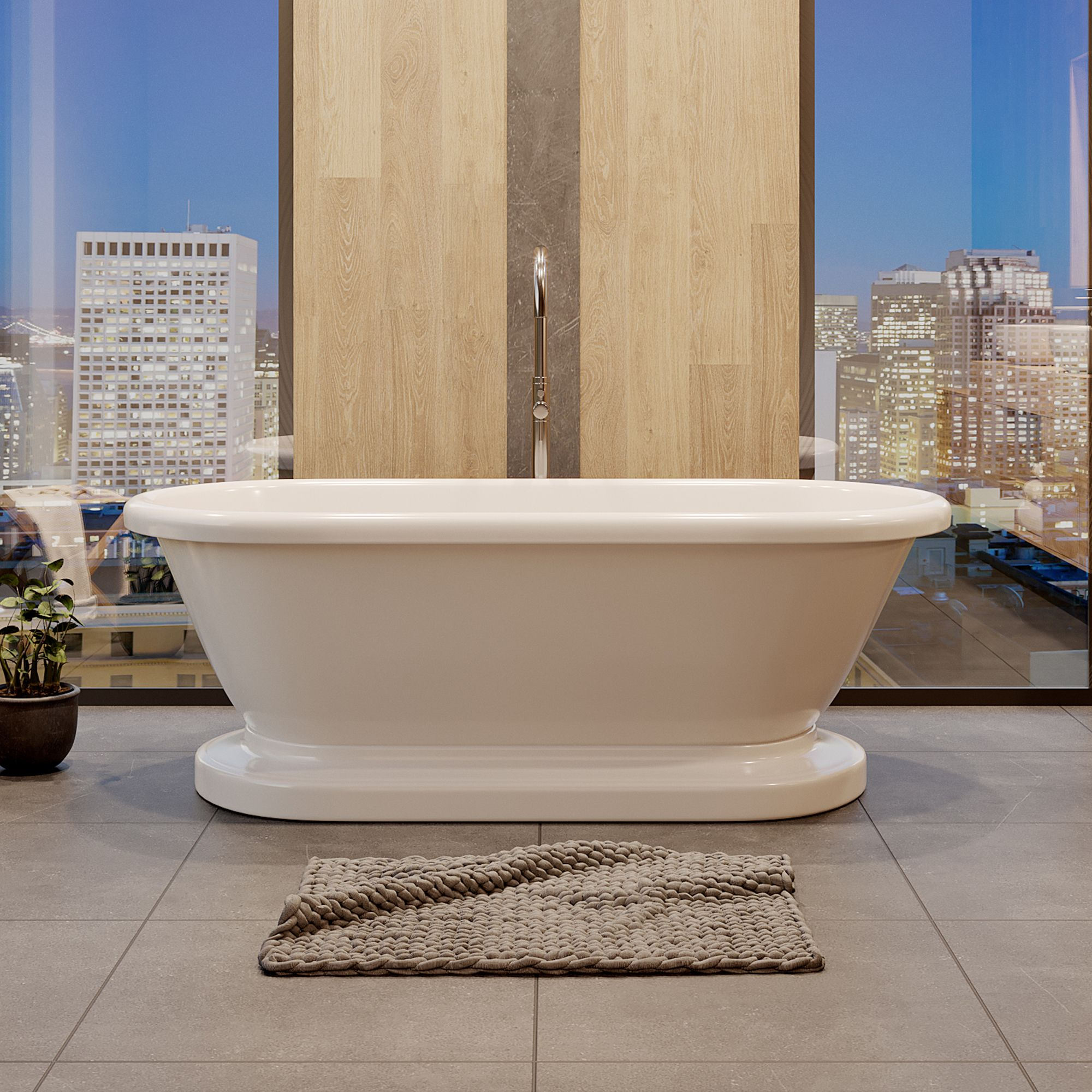 Picture of: 60 In Morgan Acrylic Double Ended Pedestal Tub W Freestanding Faucet Package