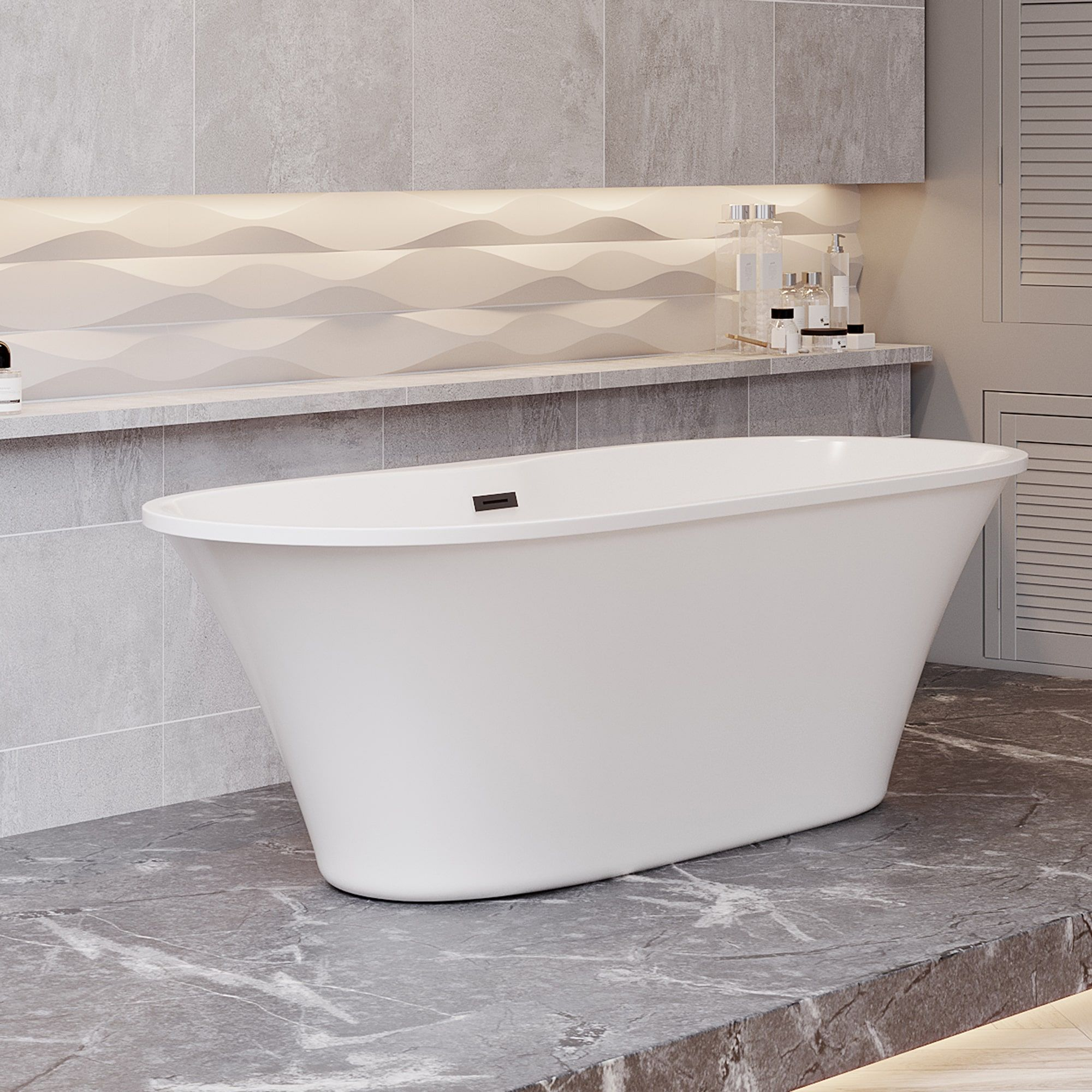 Picture of: 66 In Acrylic Double Ended Tub W Integrated Overflow Drain Chrome